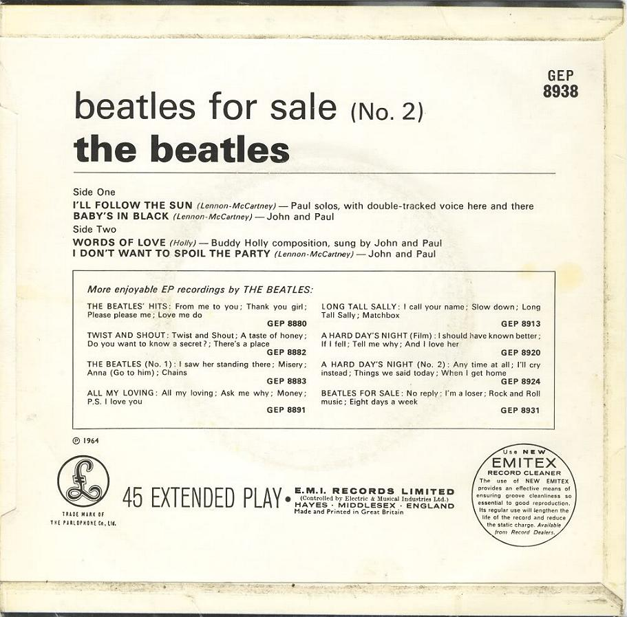Beatles For Sale No.2 GEP-8938-1st-EJD-Sleeve-B