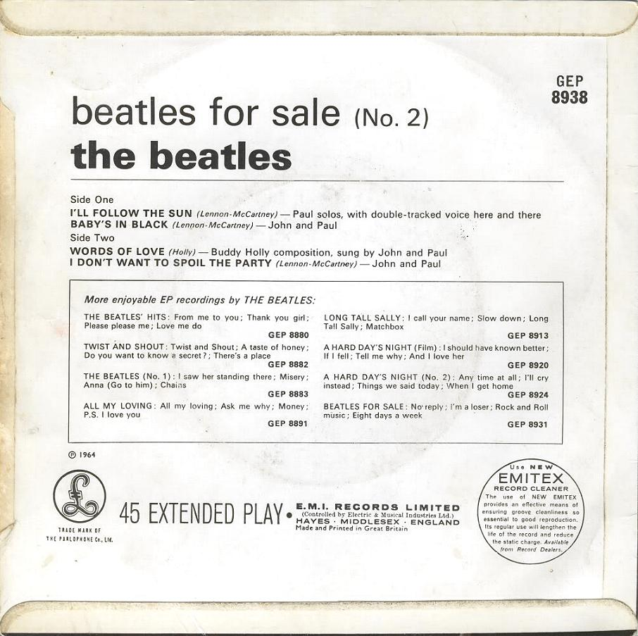 Beatles For Sale No.2 GEP-8938-1st-Sleeve-B