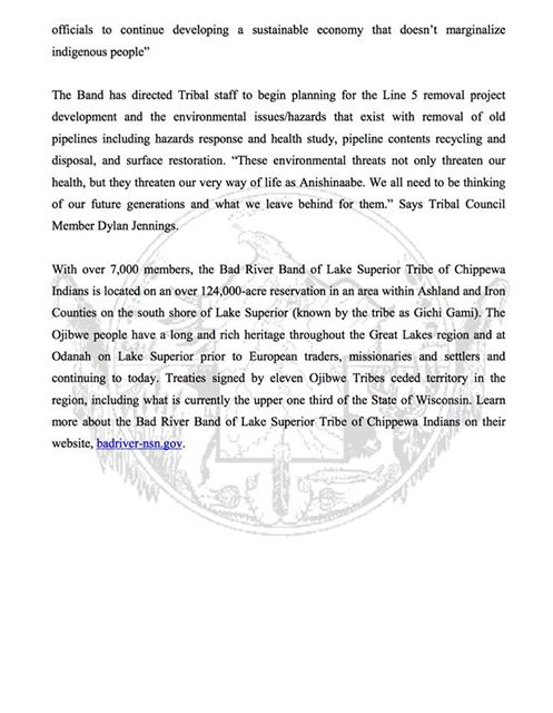 BREAKING: Chippewa Tribe Calls for Pipeline Removal from All Tribal Land, Refuses Right-of-way Renewal Bad-river-chippewa-2
