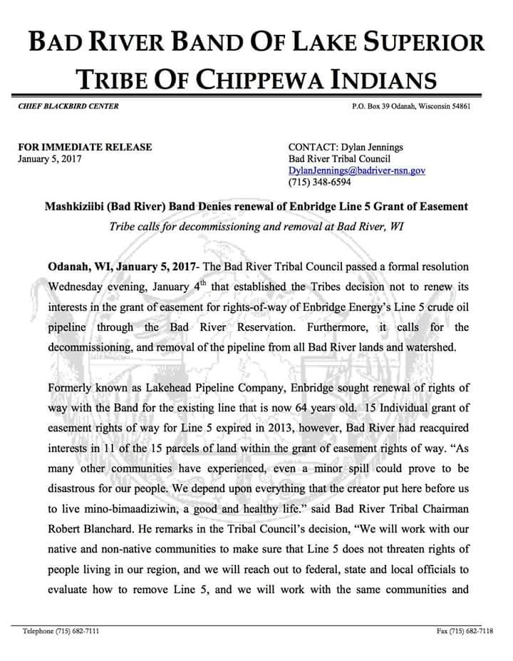 BREAKING: Chippewa Tribe Calls for Pipeline Removal from All Tribal Land, Refuses Right-of-way Renewal Bad-river-chippewa