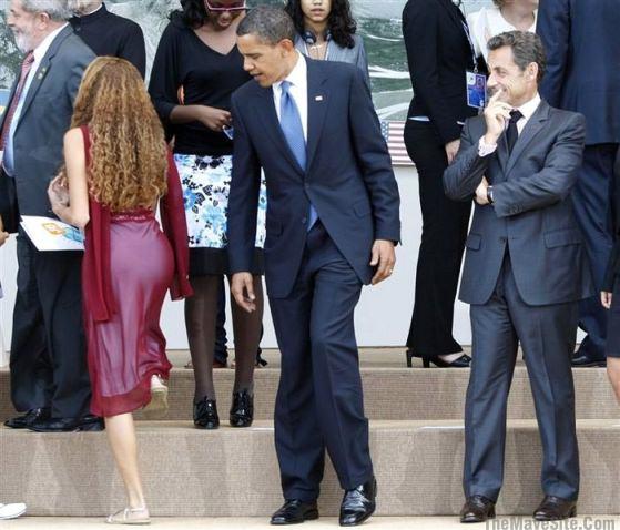 Men poukisa prezidan frankofou Sarkozy ap ri prezidan Obama ObamaOgles16YearOldGirl%27sBumAtG8Meeting