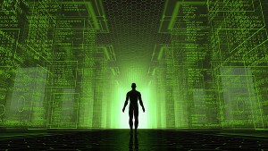 How The Mass Media Is Manifesting the Future of Humanity Man-standing-at-lighted-door-within-green-matrix-post-300x169