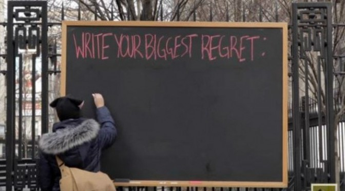 This Blackboard In New York Asked For Their Biggest Regrets. It's What They Had In Common That Broke My Heart Regret-759-728x400-672x372
