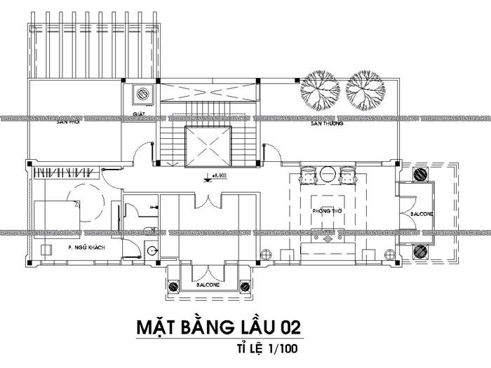 Mẫu thiết kế biệt thự 2 tầng dt 250m2 hiện đại đẹp tại Quảng Ngãi Tang-2