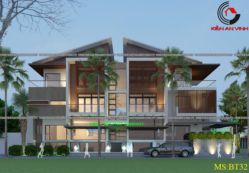 Thiết kế biệt thự đẹp 2 tầng kết hợp văn phòng hiện đại dt 300m2 Biet-thu-ket-hop-van-phong-1