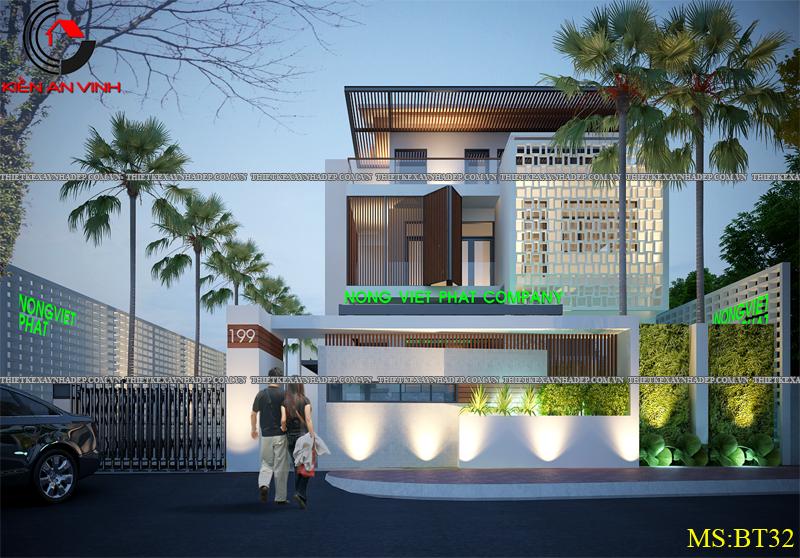 Thiết kế biệt thự đẹp 2 tầng kết hợp văn phòng hiện đại dt 300m2 Biet-thu-ket-hop-van-phong-2