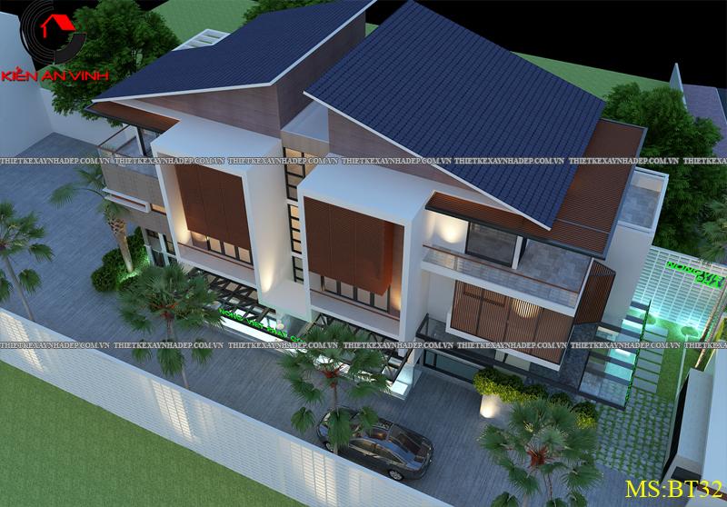Thiết kế biệt thự đẹp 2 tầng kết hợp văn phòng hiện đại dt 300m2 Biet-thu-ket-hop-van-phong-5