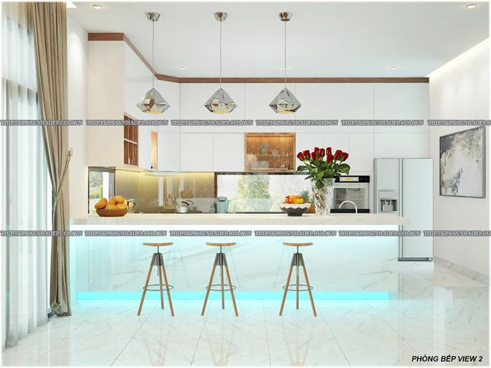 Thiết kế biệt thự đẹp 2 tầng kết hợp văn phòng hiện đại dt 300m2 Phong-bep-3