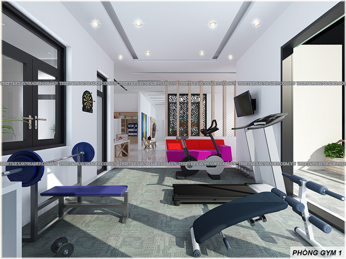 Thiết kế biệt thự đẹp 2 tầng kết hợp văn phòng hiện đại dt 300m2 Phong-gym-2
