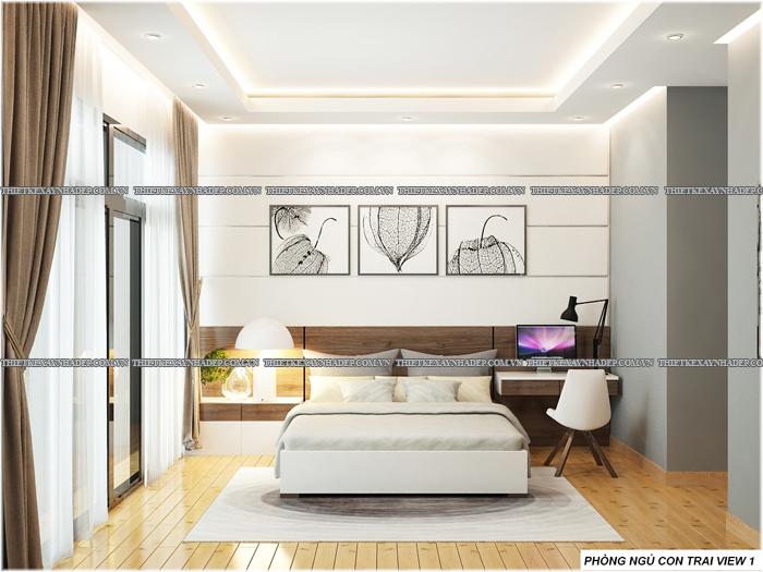 Thiết kế biệt thự đẹp 2 tầng kết hợp văn phòng hiện đại dt 300m2 Phong-ngu-con-trai-3