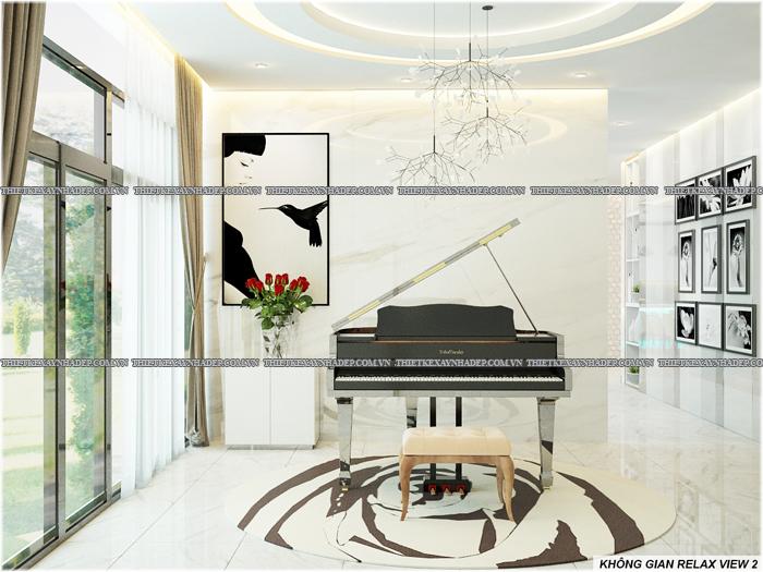 Thiết kế biệt thự đẹp 2 tầng kết hợp văn phòng hiện đại dt 300m2 Phong-thu-gian-2