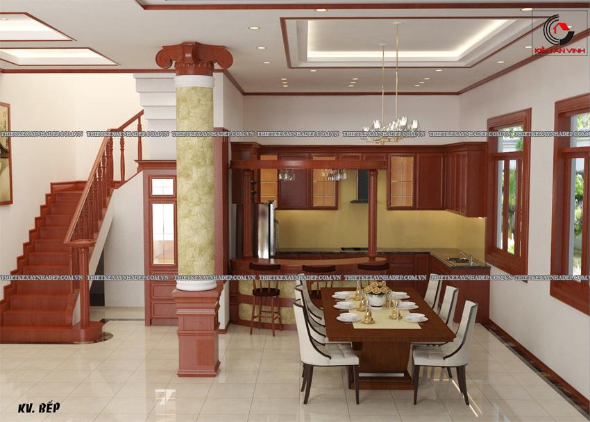 Mẫu thiết kế biệt thự nhà vườn 1 tầng hiện đại diện tích 150m2 Phong-bep-1