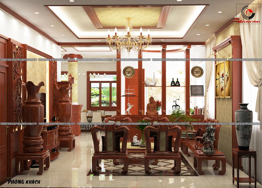 Mẫu thiết kế biệt thự nhà vườn 1 tầng hiện đại diện tích 150m2 Phong-khach-1