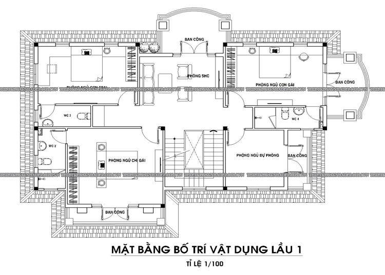 Mẫu thiết kế biệt thự 2 tầng 1 tum đẹp tại Q.12 diện tích 150m2 Tang-1