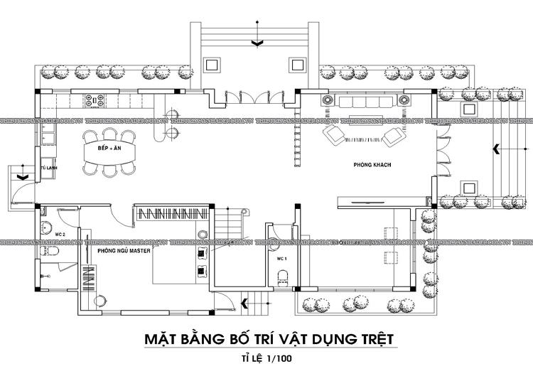 Mẫu thiết kế biệt thự 2 tầng 1 tum đẹp tại Q.12 diện tích 150m2 Tang-tret