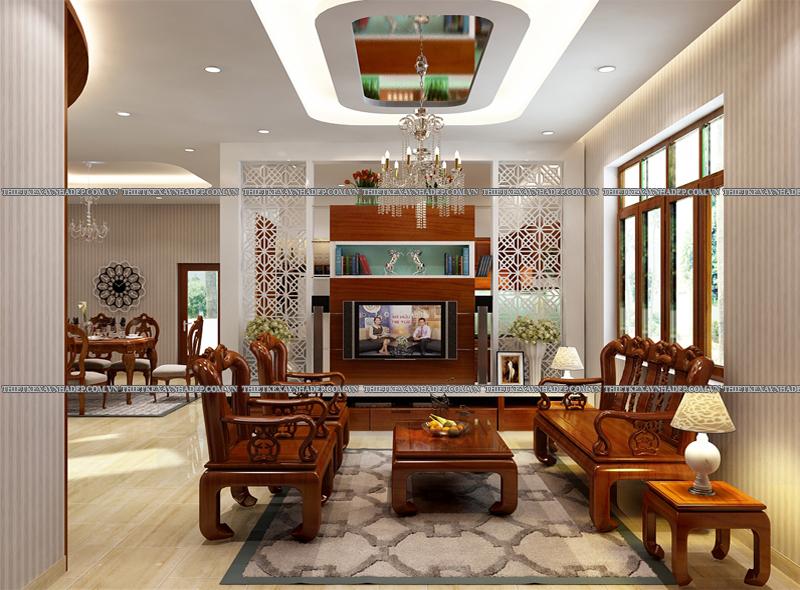 Mẫu thiết kế biệt thự 2 tầng đẹp hiện đại diện tích 120m2 Phong-khach-1