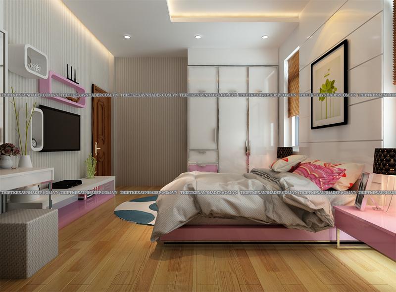 Mẫu thiết kế biệt thự 2 tầng đẹp hiện đại diện tích 120m2 Phong-ngu-con-gai-2