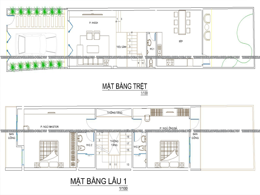 Mẫu thiết kế nhà ống 2 tầng đẹp diện tích 5x25m tại Nhà Bè,Q.7 Tang-tret-tang-1