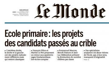 [Le Monde] Ecole primaire : les projets des candidats passés au crible  3fc122536899008