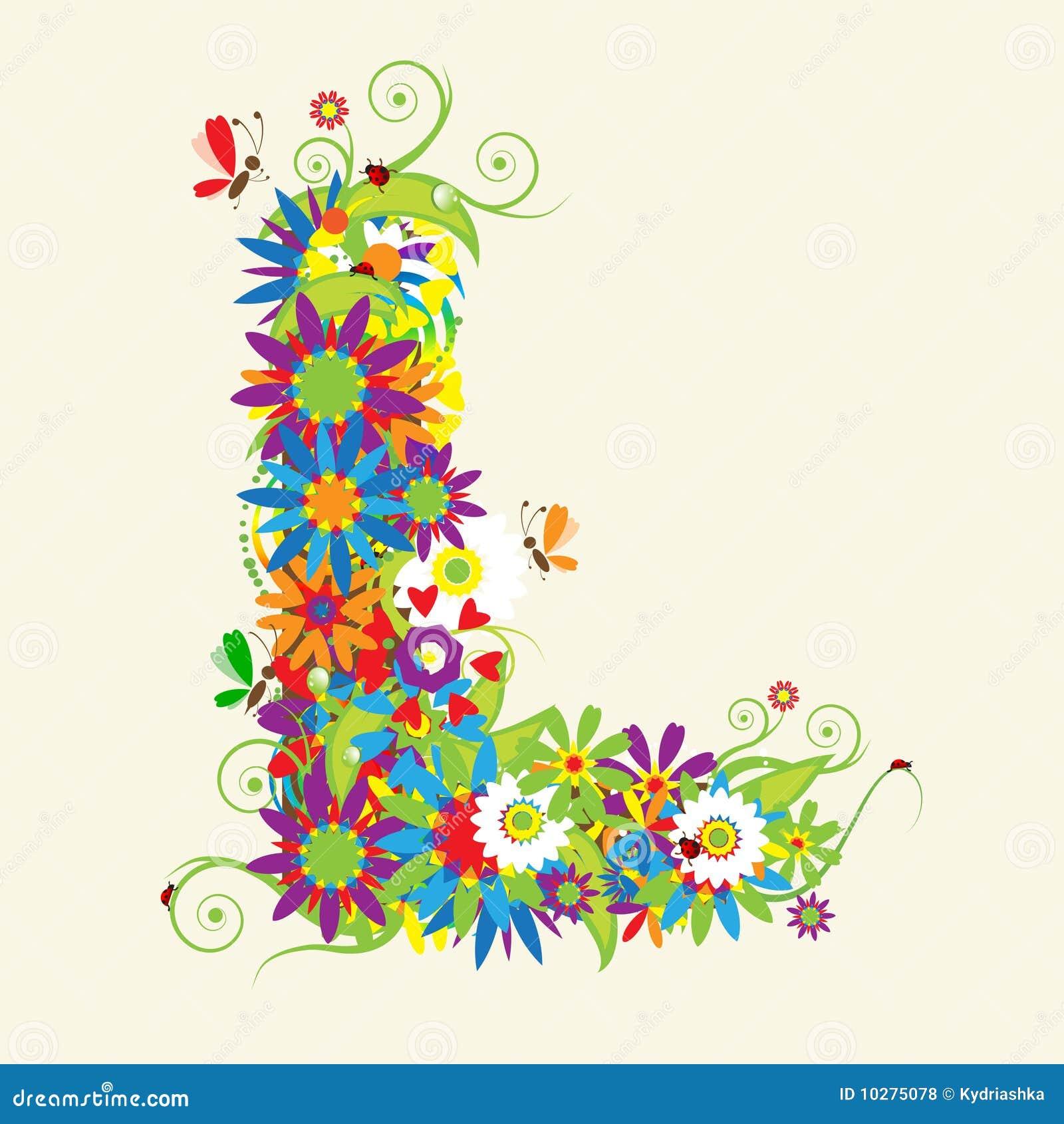 Oslikaj slova  azbuke - Page 11 Letter-l-floral-design-10275078