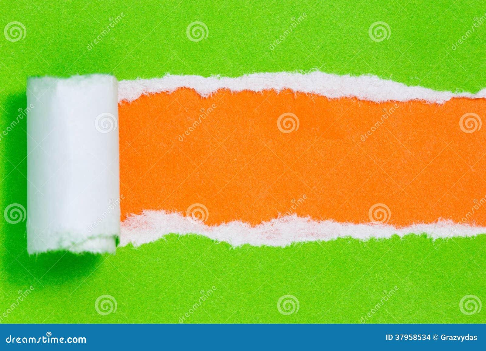 Scott SQUALE 940 XL Papier-d%C3%A9chir%C3%A9-de-couleur-verte-sur-le-fond-orange-37958534