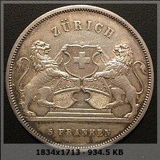 Suiza - 5 Francos 1859 Zürich. Monedas Festival de tiro.  8f3e18b00357e43b1096233a3a170f6bo