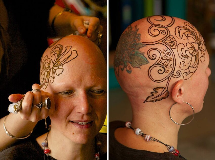 Рисунки хной на головах больных раком Henna-crowns-temporary-tattoo-cancer-patients-henna-heals-4