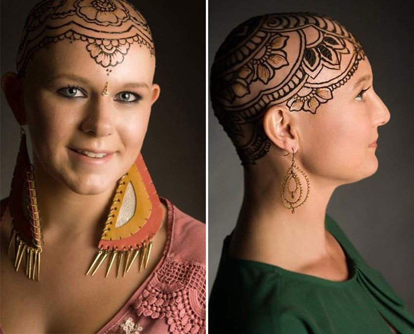 Рисунки хной на головах больных раком Henna-crowns-temporary-tattoo-cancer-patients-henna-heals-5