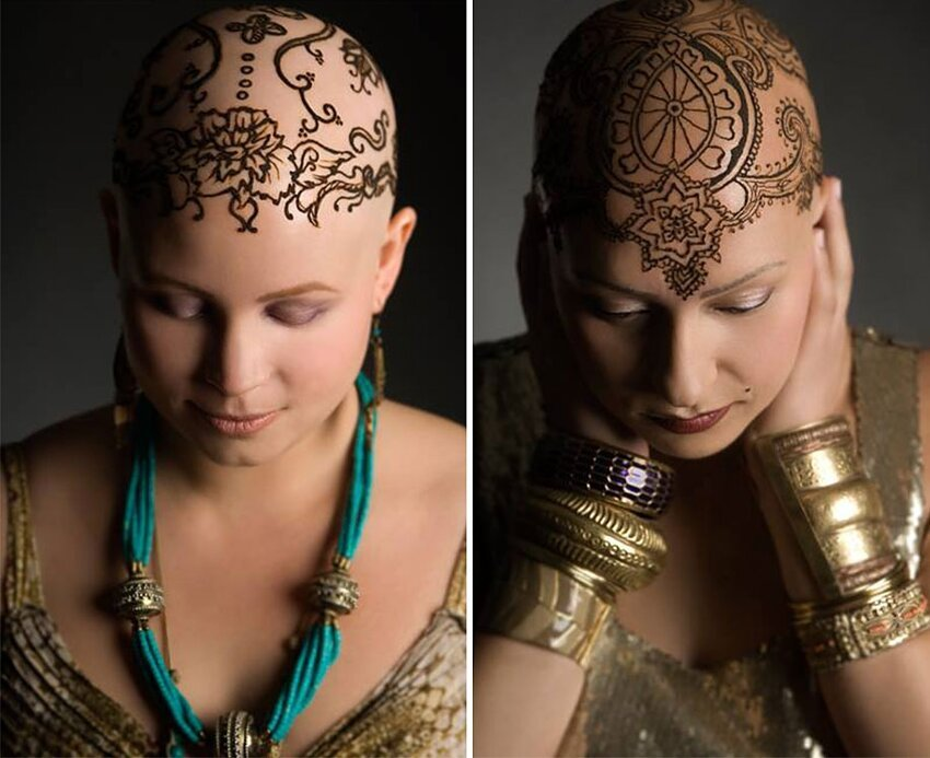 Рисунки хной на головах больных раком Henna-crowns-temporary-tattoo-cancer-patients-henna-heals-9
