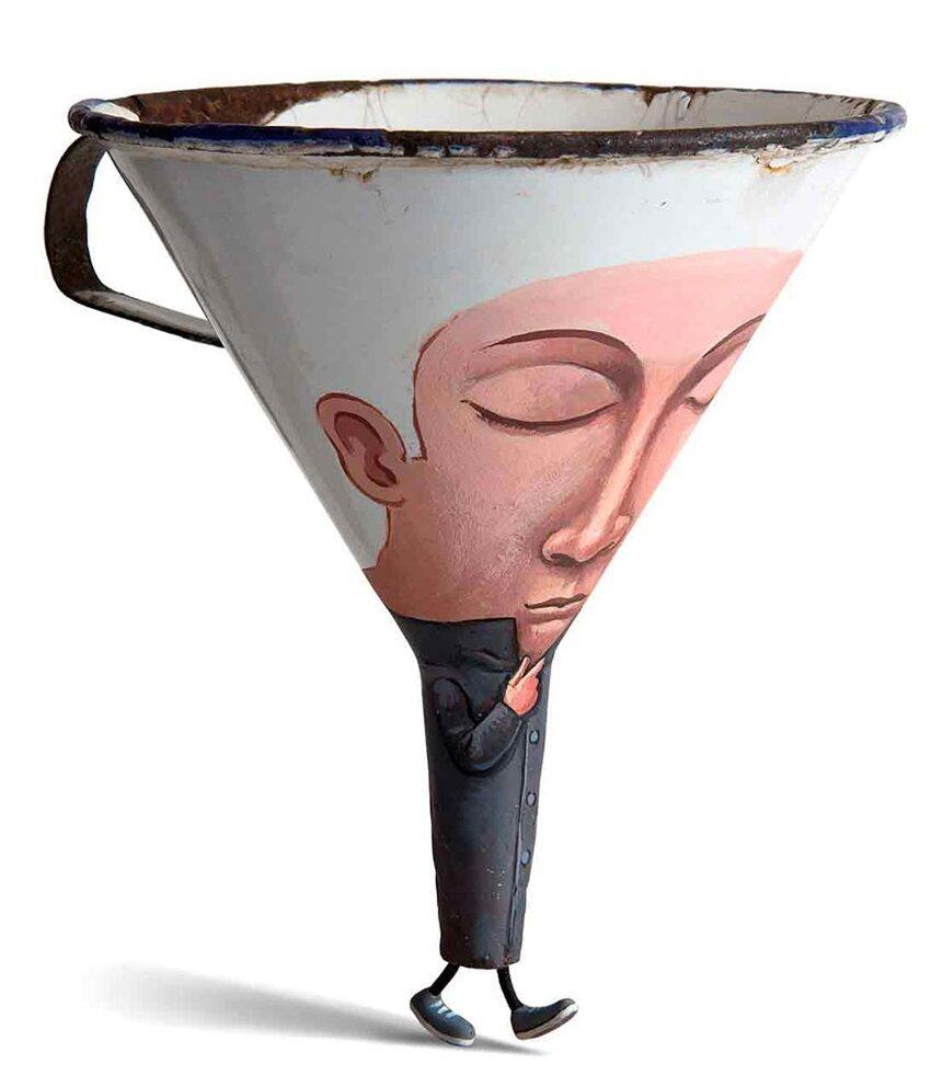 Художник создаёт из повседневных предметов, игривых персонажей. Everyday-object-sculptures-gilbert-legrand-4