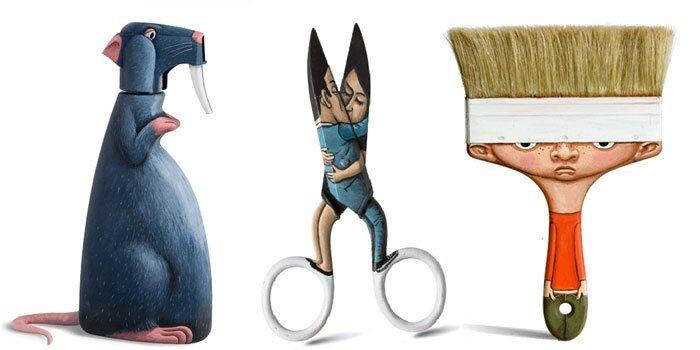 Художник создаёт из повседневных предметов, игривых персонажей. Everyday-object-sculptures-gilbert-legrand-coverimage