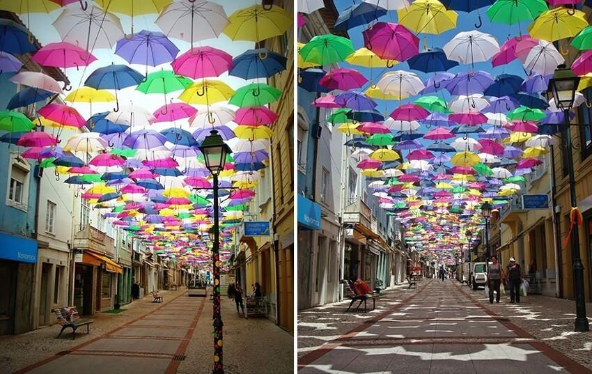 Сотни разноцветных зонтов над улицами Португалии  3c7d6e37aa0d8946a3a203ecb0929531