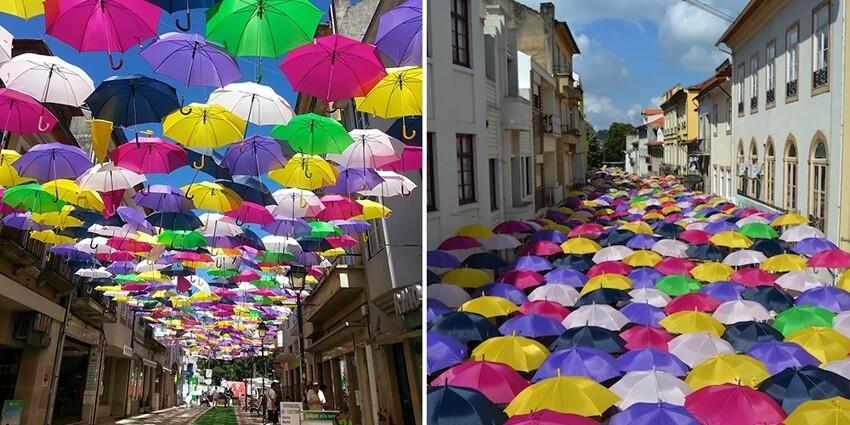Сотни разноцветных зонтов над улицами Португалии  423a296664da73ab78719b668525f114