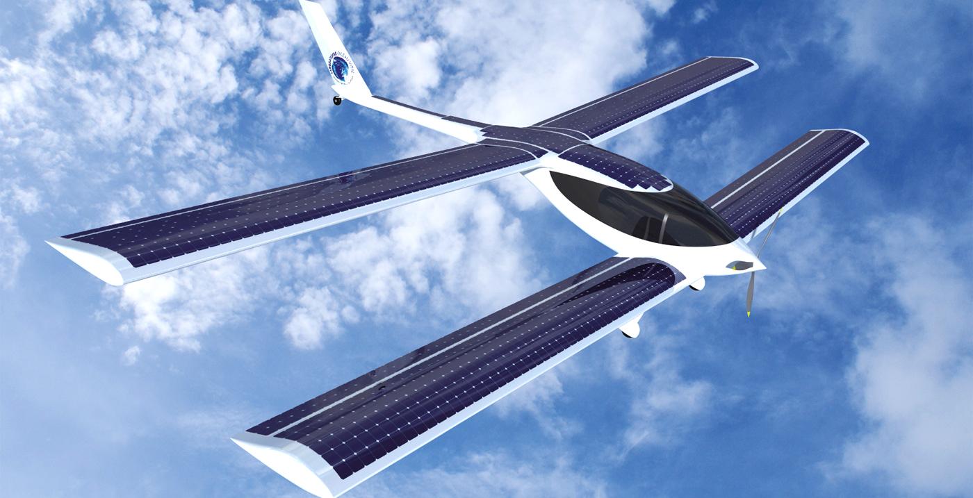 Motor electric alimentat cu 67 miliwati ( cu un mic panou solar de la un calculator de birou )  Solar-plane