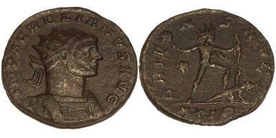 Aureliano o Antoniniano post-reforma de Aureliano. ORIENS AVG. Sol,ceca Roma. Aurelian%20Rome%20RIC%2064%20star%20left%20XXIR-RI1076