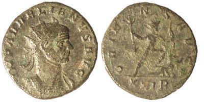 Aureliano o Antoniniano post-reforma de Aureliano. ORIENS AVG. Sol,ceca Roma. Aurelian%20Rome%20RIC%2064%20star%20left%20XXIR-RI1281