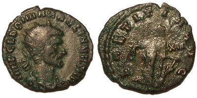Antoniniano de Aureliano Aurelian%20Rome%20RIC%2032%20XXI%20in%20right%20field-RI1124