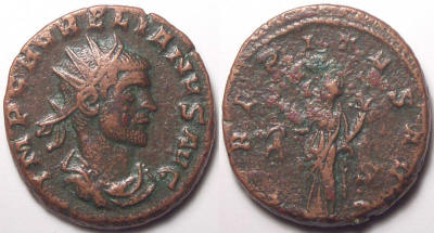 Antoniniano de Aureliano Aurelian%20Siscia%20RIC%20206%20S%20in%20right%20field-RI1215