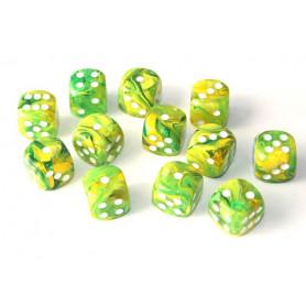 DICE : Collections de dés JDR  : modèles, conseils, adresses - Page 6 De-16-mm-effet-mixe-vert-jaune-points-blancs