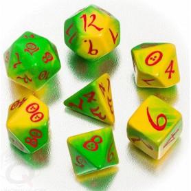 DICE : Collections de dés JDR  : modèles, conseils, adresses - Page 6 7-des-multifaces-elven-degrade-vert-jaune-style-elfe