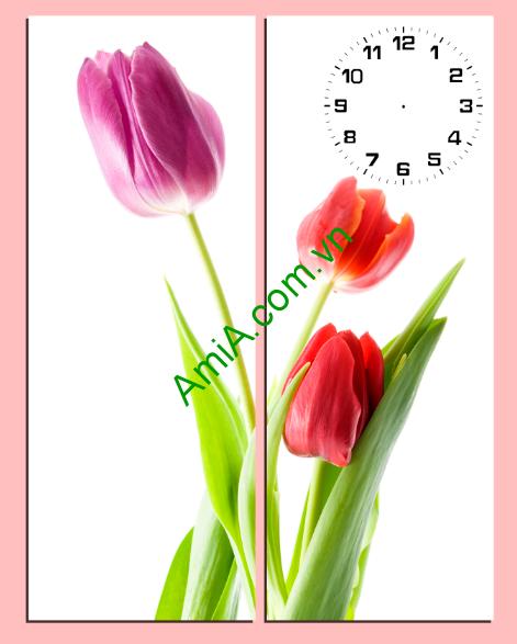 Tranh ghép nghệ thuật hoa Tulip kết hợp đồng hồ treo tường phòng khách cực chất Tranh-ghep-bo-co-nho-treo-phong-khach-dien-tich-nho-amia198