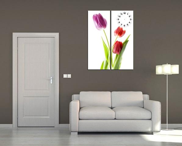 Tranh ghép nghệ thuật hoa Tulip kết hợp đồng hồ treo tường phòng khách cực chất Tranh-hoa-tuy-lip-kho-co-nho-treo-phong-khach-dien-tich-nho