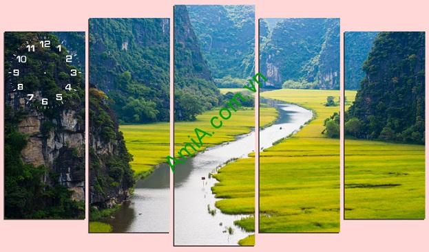 Giới thiệu những bộ Tranh phong thủy treo tường phòng khách hợp bản mệnh Bo-tranh-phong-canh-song-nui-cuc-dep-treo-phong-khach-amia1681