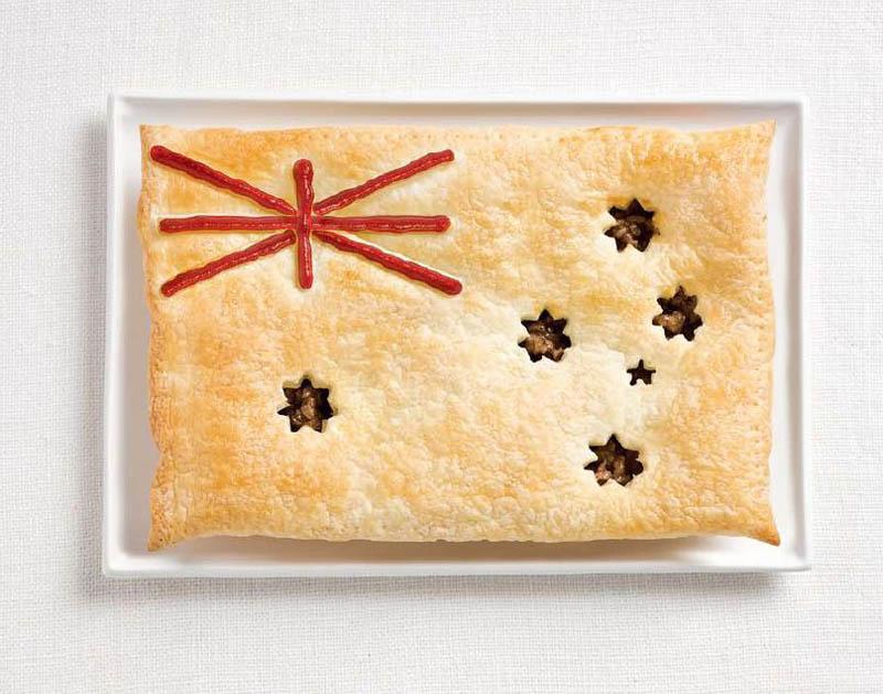 உணவு பொருட்களில் அழகிய பன்னாட்டு தேசிய கொடிகள்  Australia-flag-made-from-food