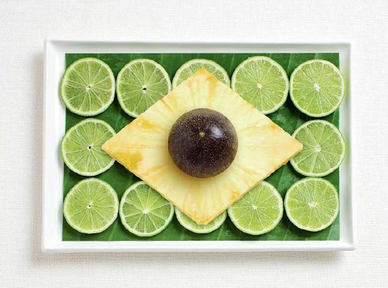 உணவு பொருட்களில் அழகிய பன்னாட்டு தேசிய கொடிகள்  Brazil-flag-made-from-food