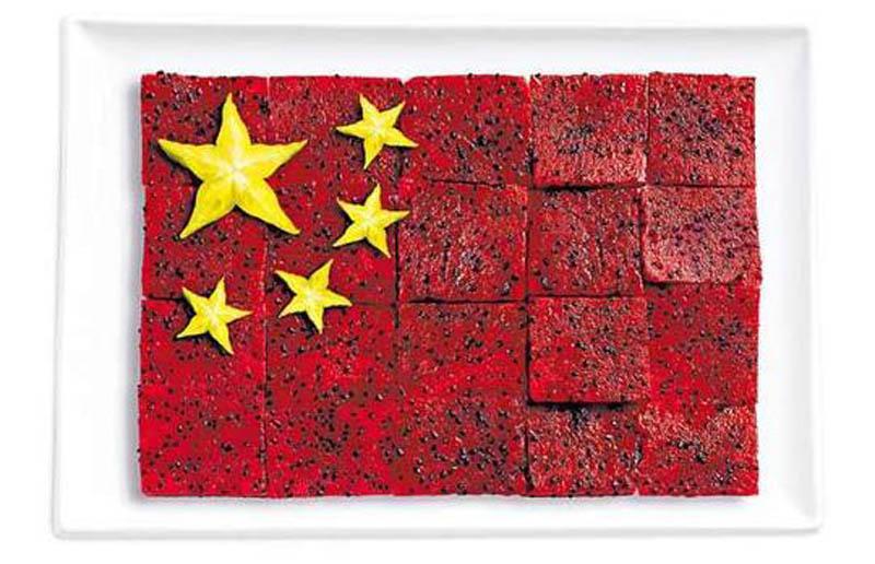 உணவு பொருட்களில் அழகிய பன்னாட்டு தேசிய கொடிகள்  China-flag-made-from-food