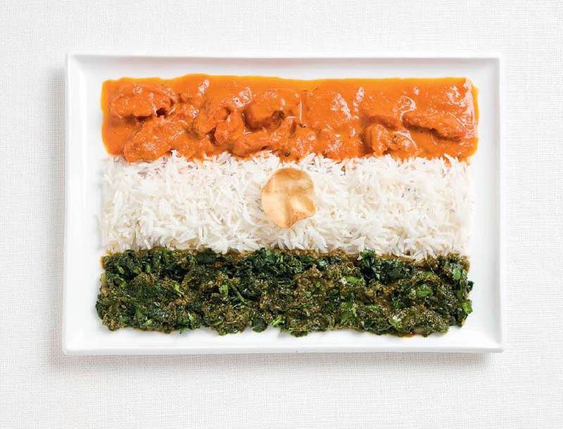 உணவு பொருட்களில் அழகிய பன்னாட்டு தேசிய கொடிகள்  India-flag-made-from-food