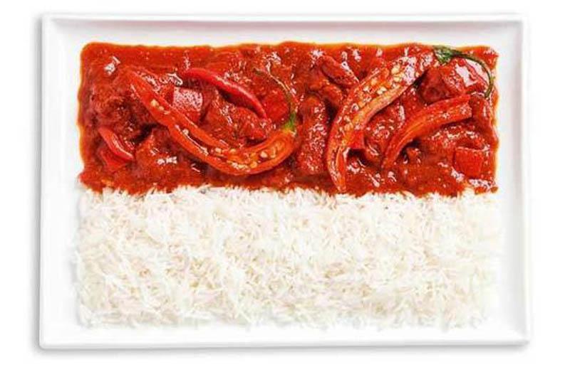 உணவு பொருட்களில் அழகிய பன்னாட்டு தேசிய கொடிகள்  Indonesia-flag-made-from-food