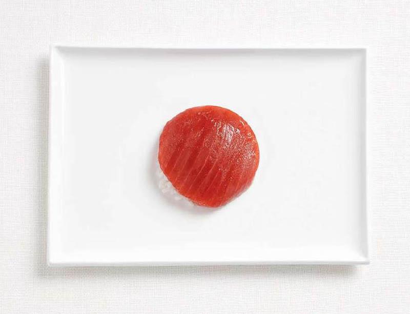உணவு பொருட்களில் அழகிய பன்னாட்டு தேசிய கொடிகள்  Japan-flag-made-from-food