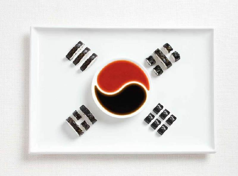 உணவு பொருட்களில் அழகிய பன்னாட்டு தேசிய கொடிகள்  South-korea-flag-made-from-food